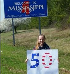 Bryn Clarkson '17 marking the 50th state she's visited