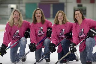 "Grosse Pointe Women's Hockey Club (""The Chill"") meets for weekly games at City Sport in Detroit. Team members include Terry Semple Burke, Suzie Thibodeau Standish ('84), DeAnn Patanis Lukas ('85) and Erika Teitge Combs ('90)."